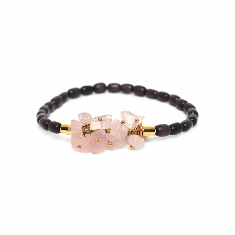 CRANBERRIES rose quartz & ebony bracelet