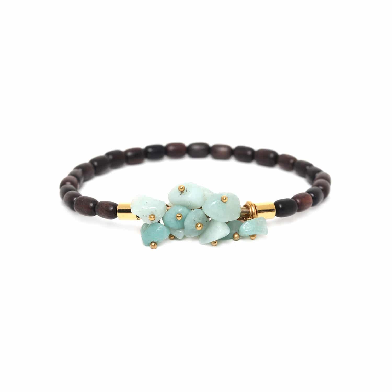 CRANBERRIES bracelet amazonite & ébène