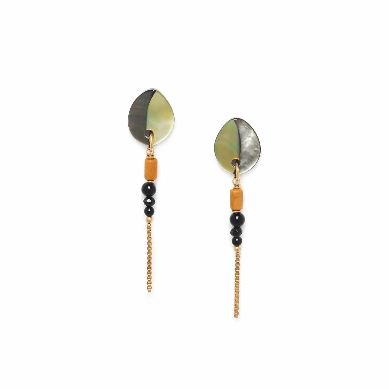 BENGALI boucles d'oreilles chaine & 3 perles