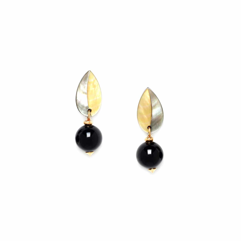 BENGALI boucles d'oreilles perle ronde & feuille