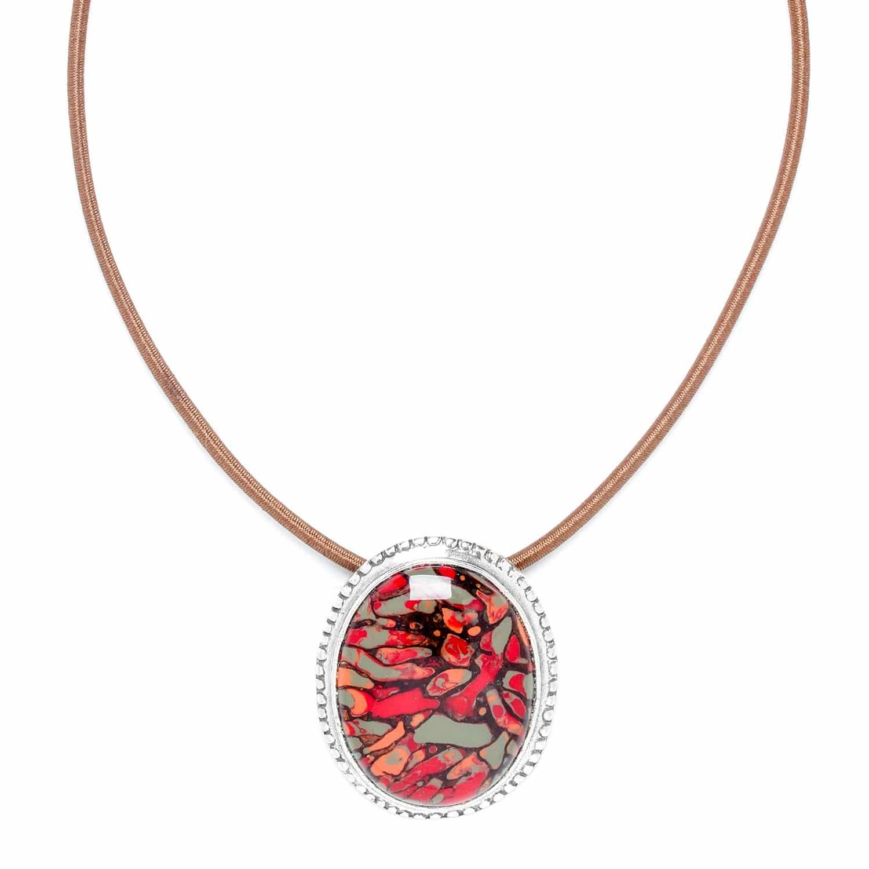 AMAZONIA collier pendentif ovale