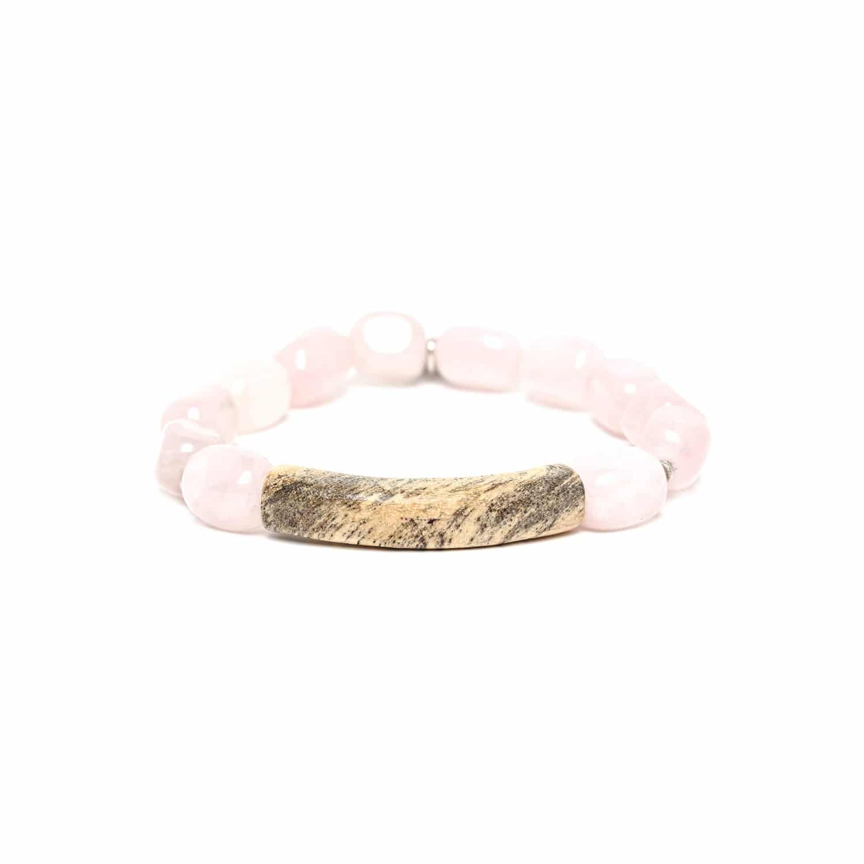 IMPALA bracelet extensible tamarinier et quartz rose