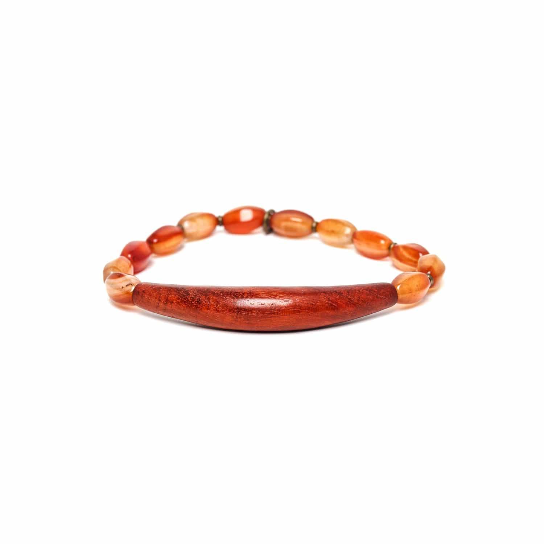 IMPALA bracelet extensible agate rouge et sibucao