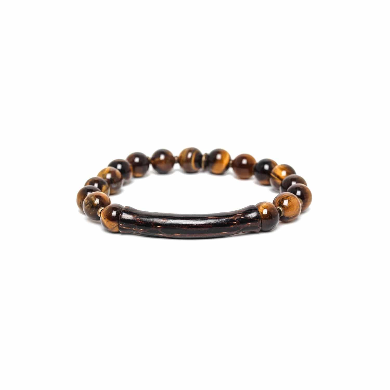 IMPALA bracelet extensible oeil de tigre et palmier