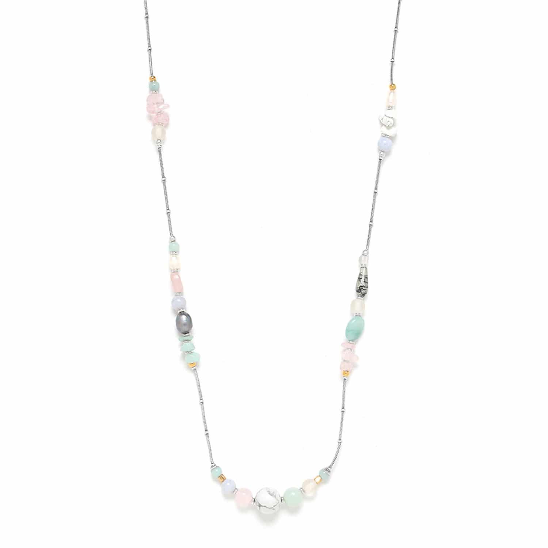 ROCK & PEARL long necklace amazonite pink quartz