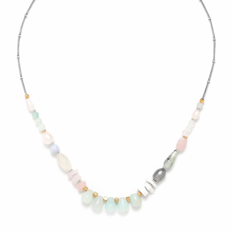 ROCK & PEARL petit collier amazonite