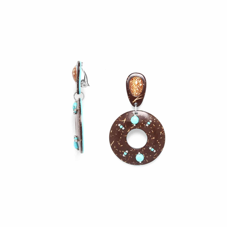 MARACAIBO boucles d'oreilles clips noix de coco et coquillage