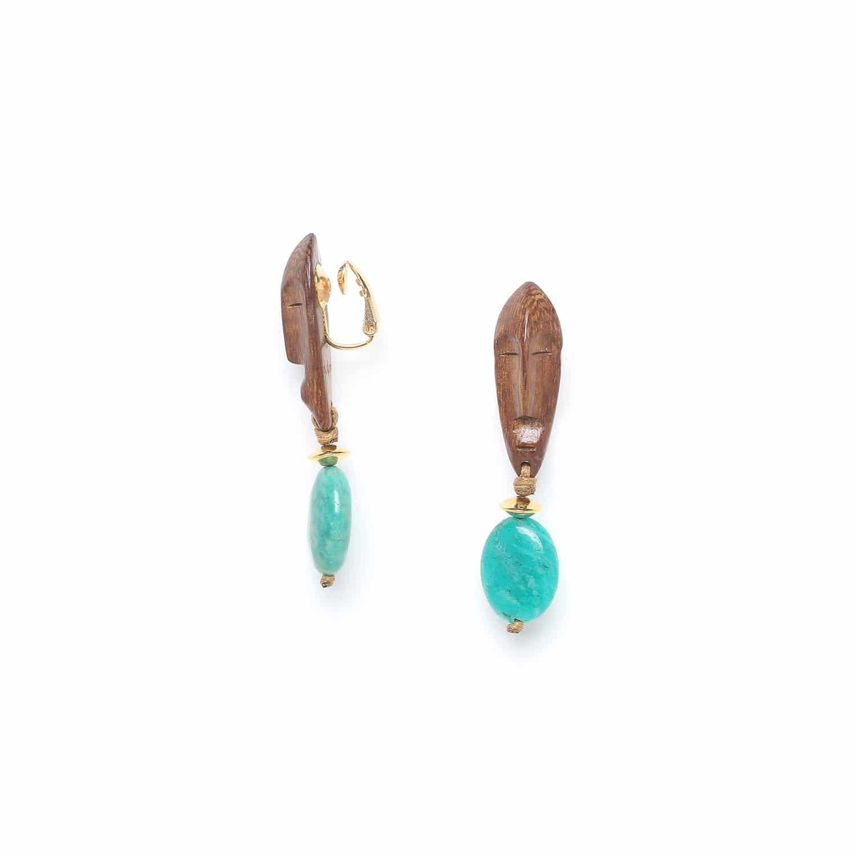 YORUBA boucles d'oreilles clips dorées amazonite et bois