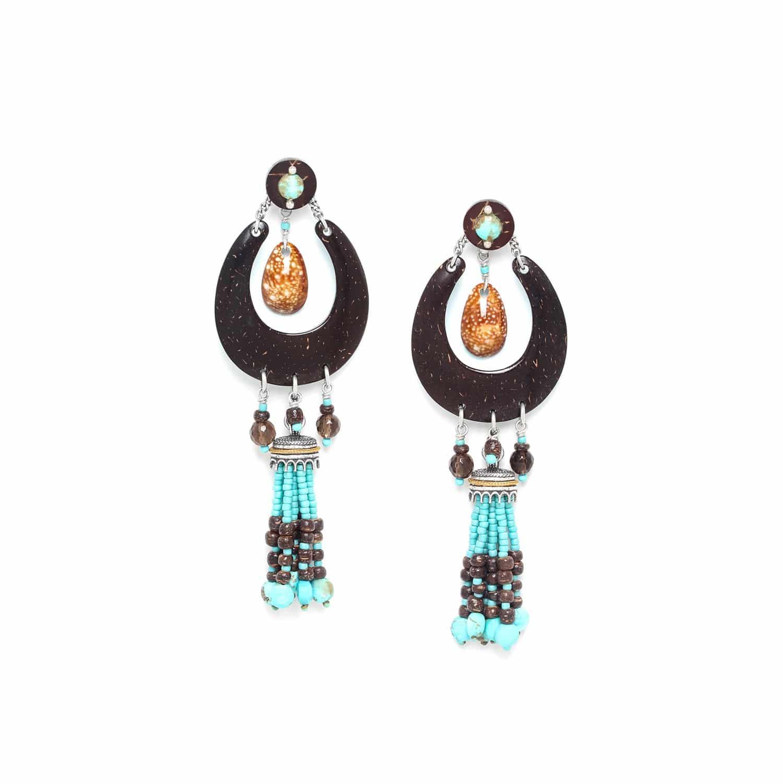 MARACAIBO boucles d'oreilles longues noix de coco pampille howlite et coquillage