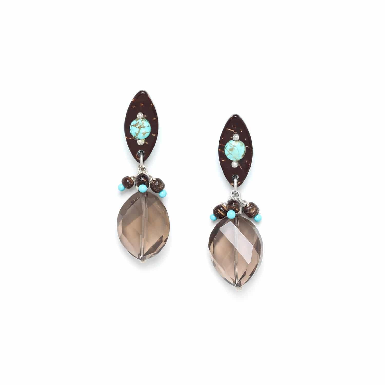 MARACAIBO boucles d'oreilles quartz fumé top noix de coco et howlite
