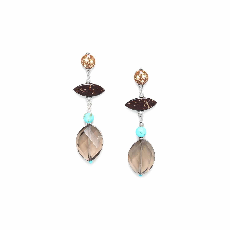 MARACAIBO boucles d'oreilles longues quartz fumé et noix de coco