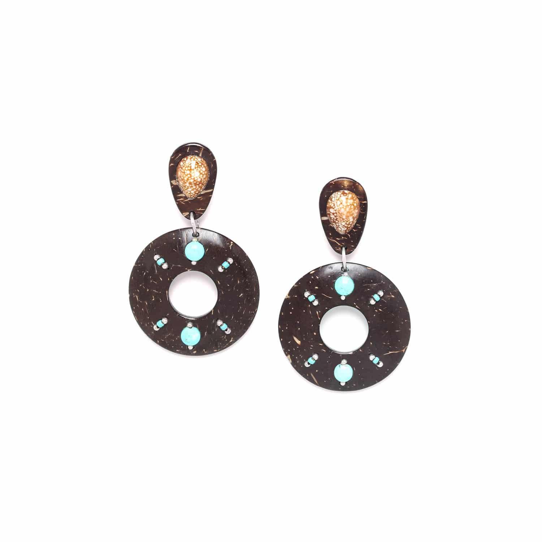 MARACAIBO boucles d'oreilles noix de coco et coquillage
