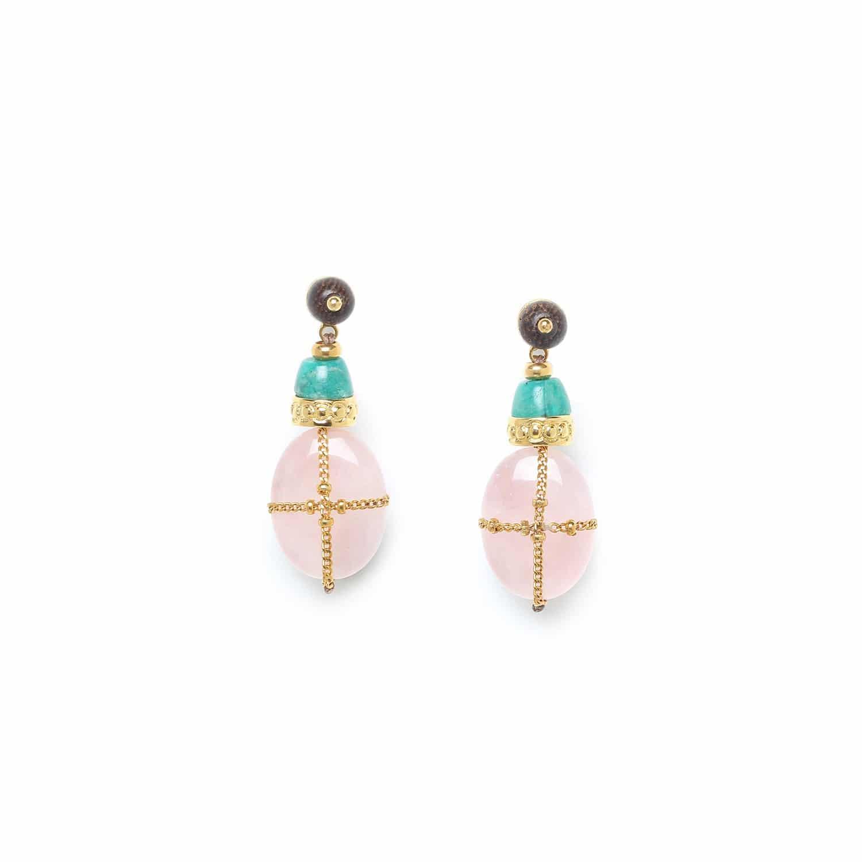 YORUBA boucles d'oreilles quartz rose amazonite et chaîne dorée