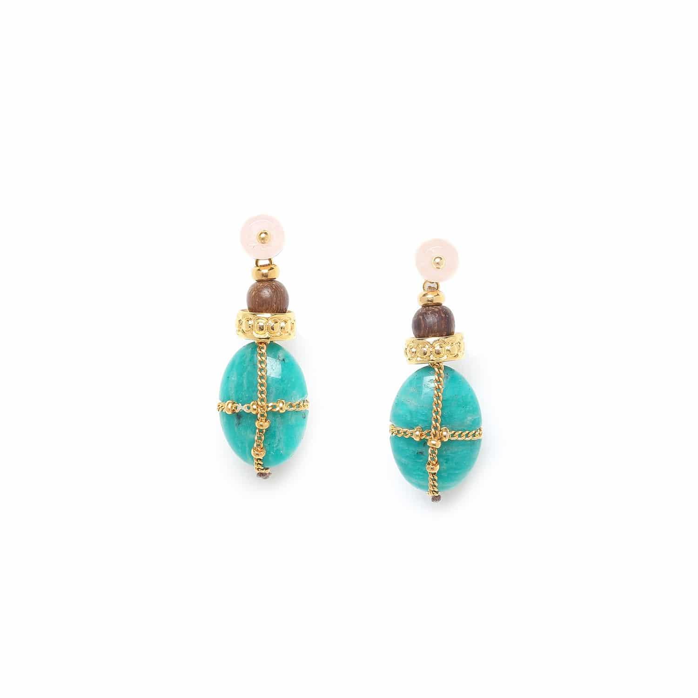 YORUBA boucles d'oreilles amazonite chaîne dorée top quartz rose