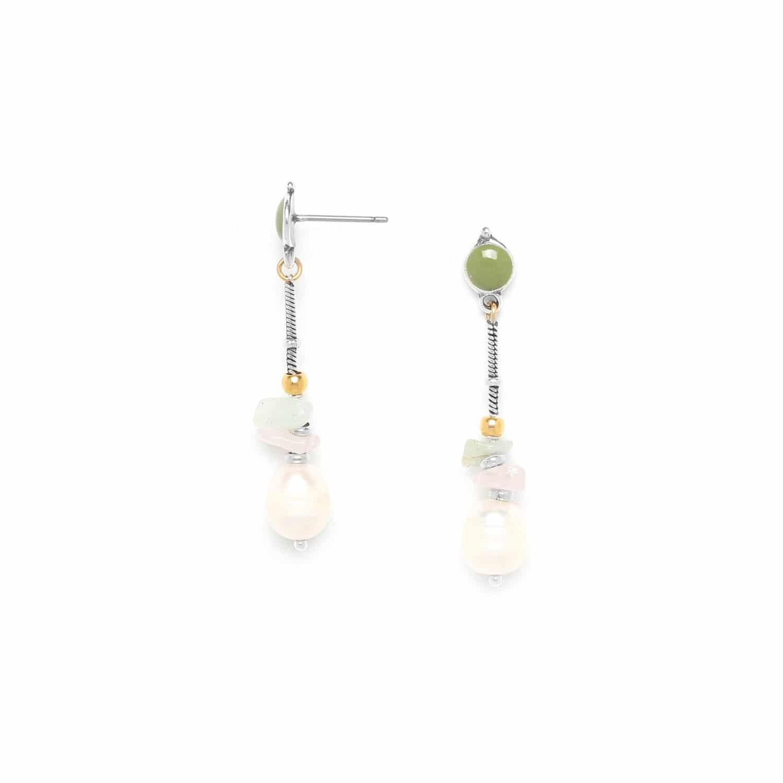 ROCK & PEARL boucles d'oreilles amazonite quartz rose et perle de culture