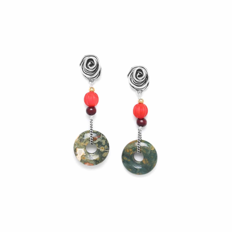 DJIMINI boucles d'oreilles anneau rhyolite