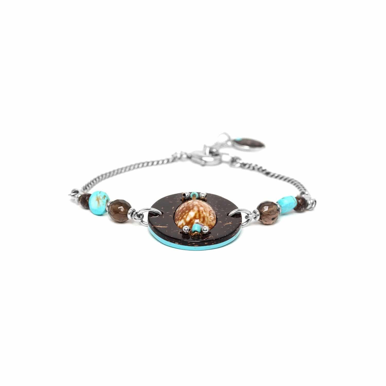 MARACAIBO bracelet coquillage noix de coco et perles quartz fumé