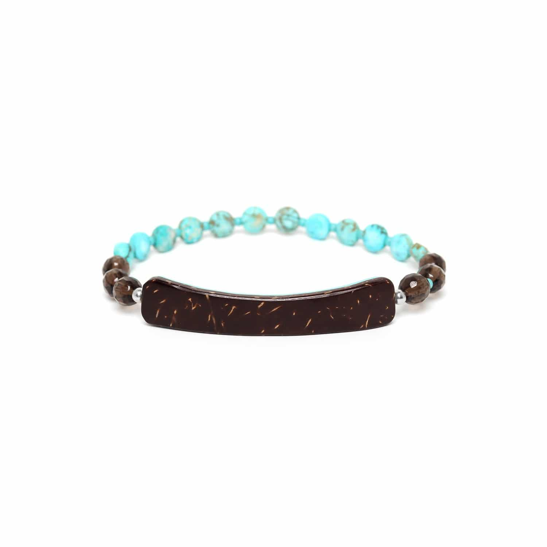 MARACAIBO bracelet extensible élément noix de coco et quartz fumé