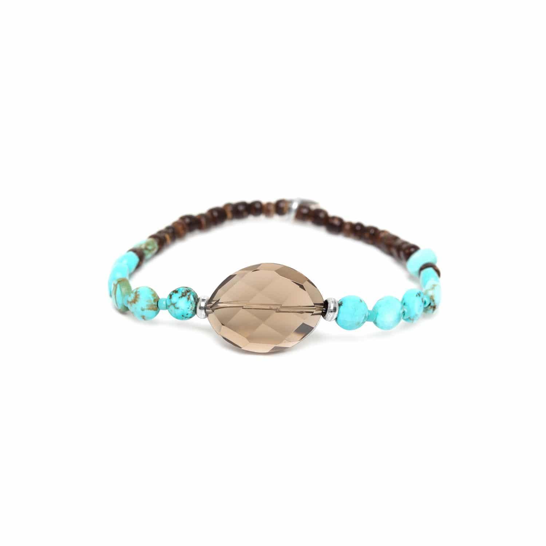 MARACAIBO bracelet élément quartz fumé et perles de noix de coco