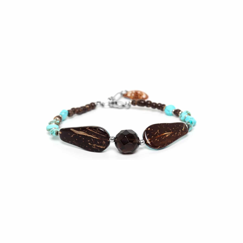 MARACAIBO bracelet 2 gouttes noix de coco et quartz fumé