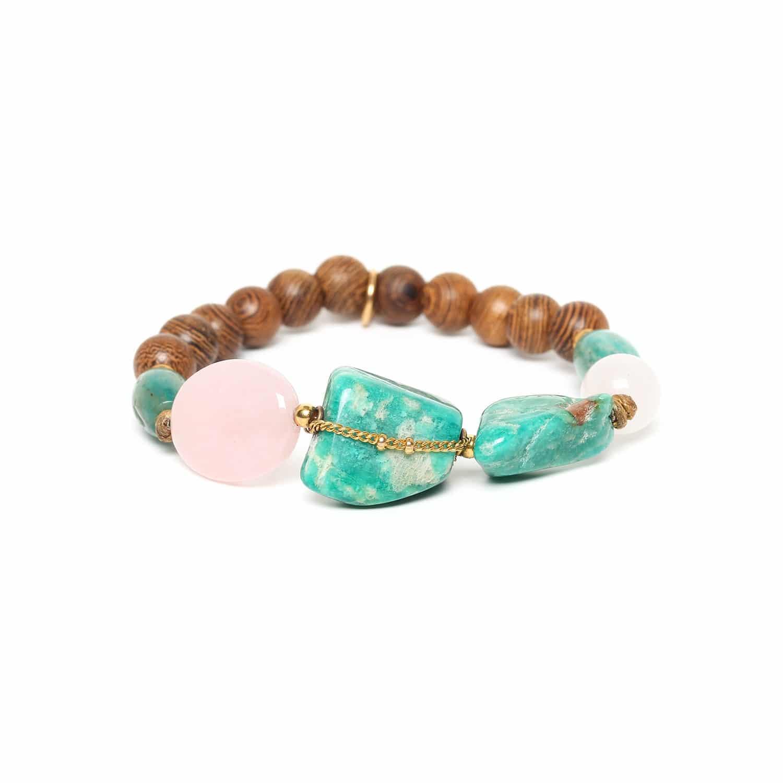 YORUBA bracelet extensible amazonite chaine dorée et quartz rose
