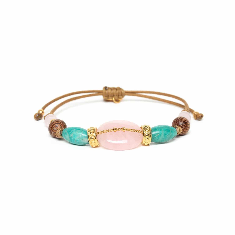 YORUBA bracelet macramé quartz rose amazonite