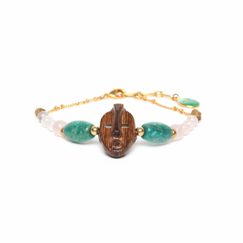 YORUBA bracelet doré bois amazonite quartz rose