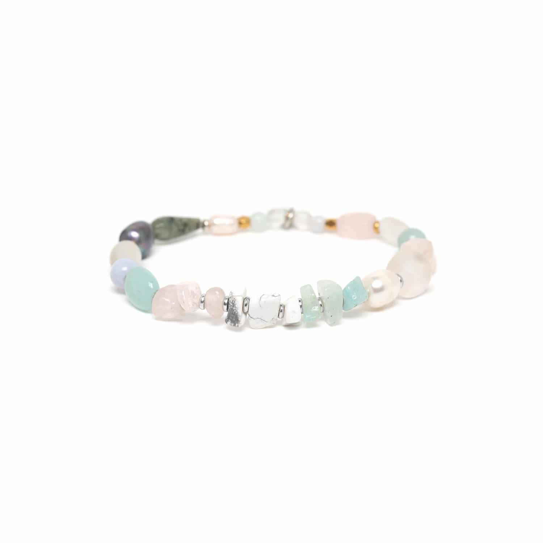 ROCK & PEARL bracelet extensible perles dorées amazonite et quartz rose
