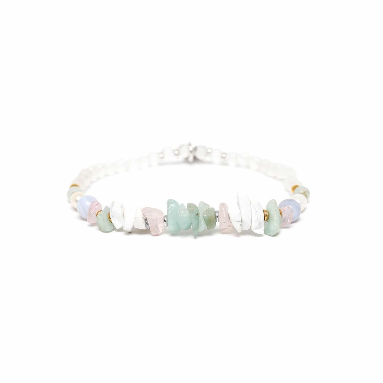 ROCK & PEARL bracelet extensible amazonite et cristal de roche