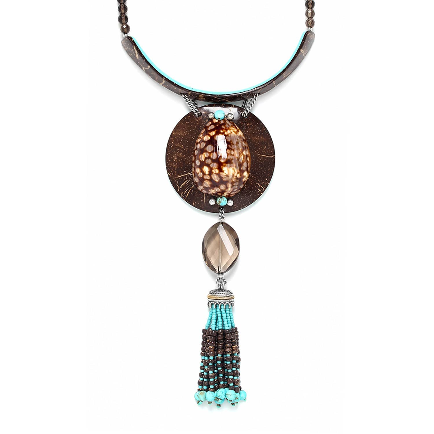 MARACAIBO large necklace with coconut and shell pendant and tassel