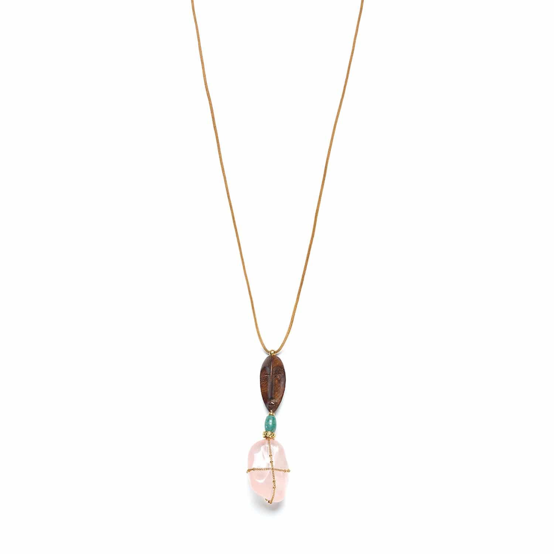 YORUBA collier long doré quartz rose et bois