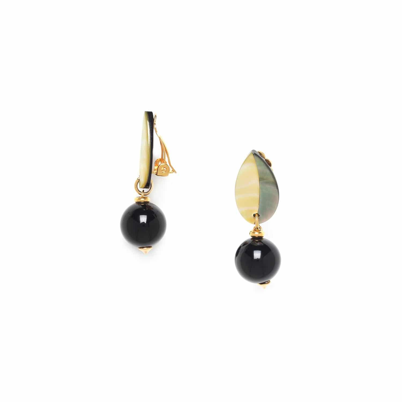 BENGALI boucles d'oreilles clips perle ronde et feuille