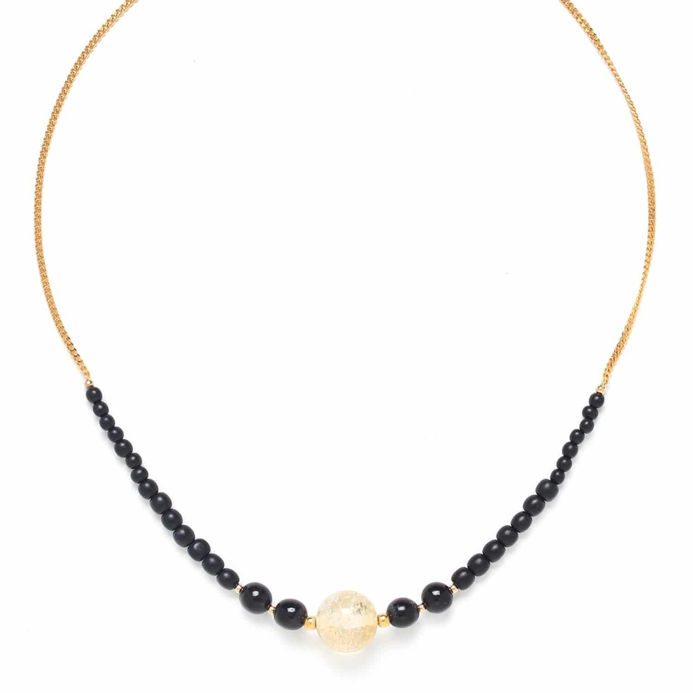 WILD LEAVES citrine round bead necklace