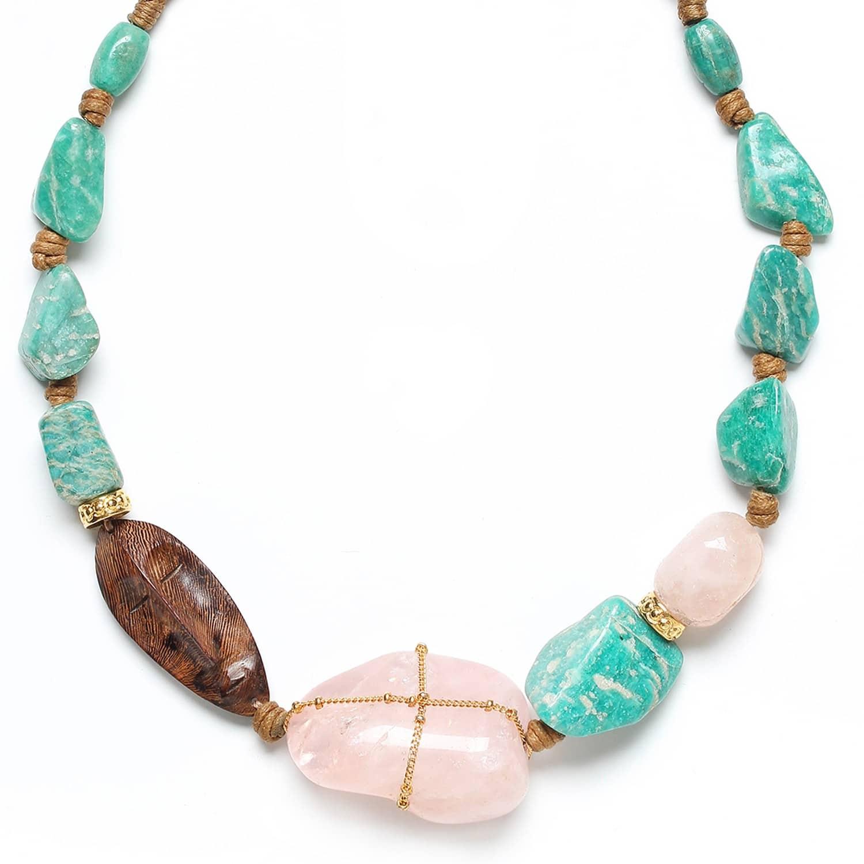 YORUBA collier court doré quartz rose amazonite et bois