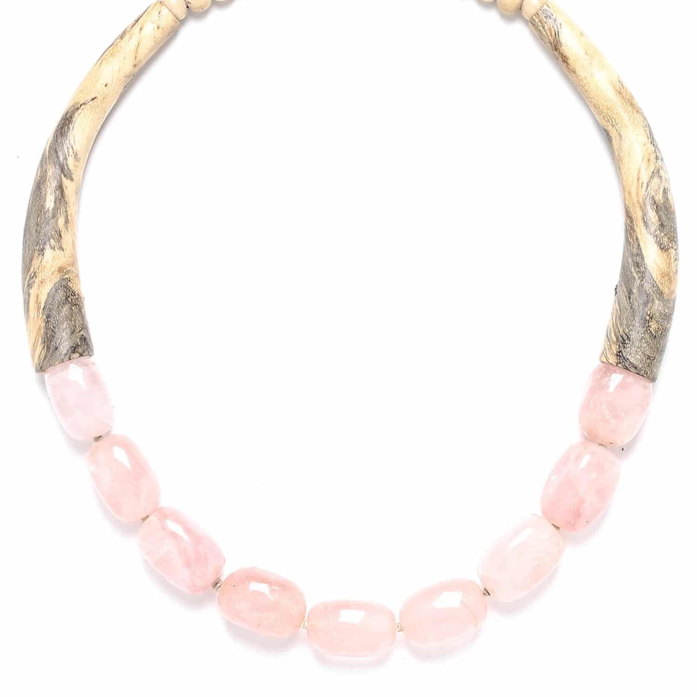 IMPALA collier tamarinier et quartz rose