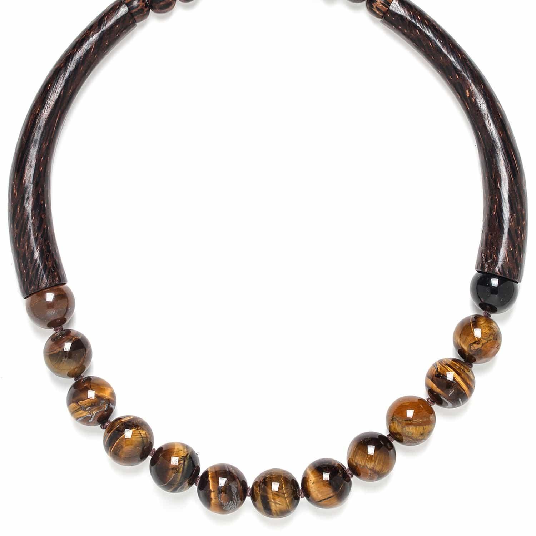 IMPALA necklace tiger eye and palmwood
