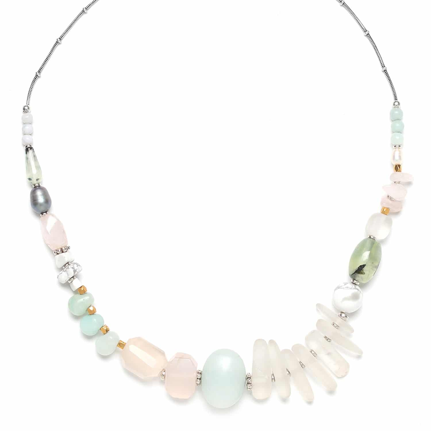 ROCK & PEARL necklace rock crystal amazonite and pink quartz