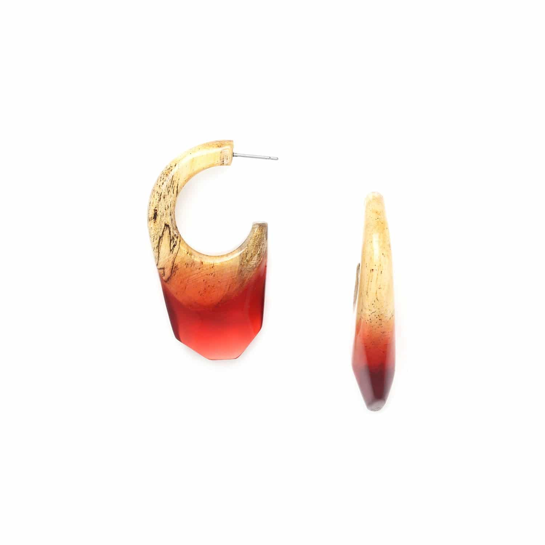 SWEET AMBER boucles d'oreilles créoles tamarinier