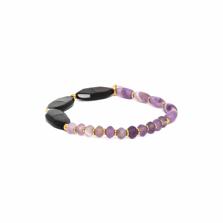 PURPLE RAIN bracelet extensible 3 perles de corne