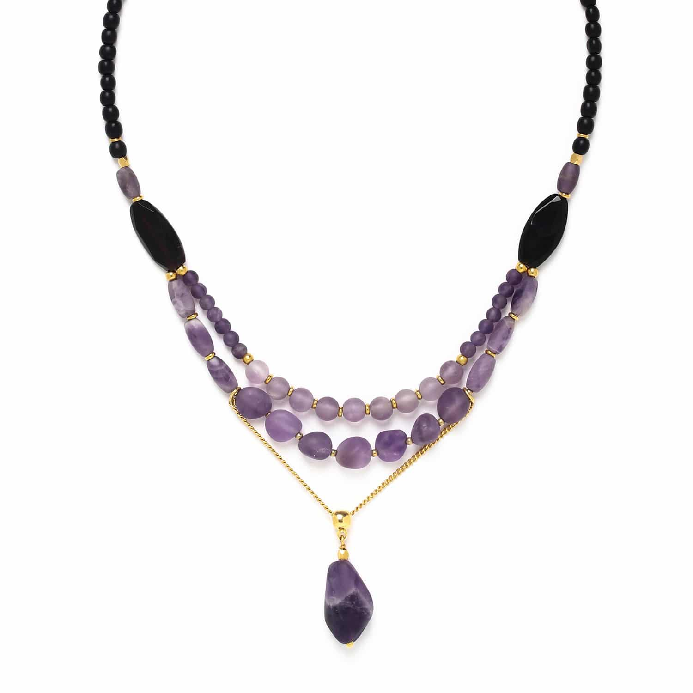 PURPLE RAIN 3 row necklace