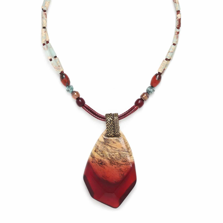 SWEET AMBER grand collier pendentif tamarinier zoisUte perles de culture et jaspe