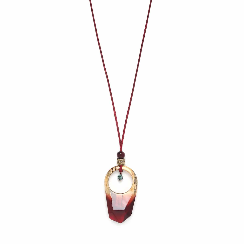 SWEET AMBER collier long pendentif tamarinier et zoisUte