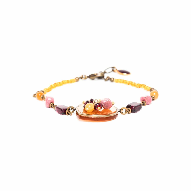GARDENIA bracelet capiz et pampille grenat jaspe et rhodonite