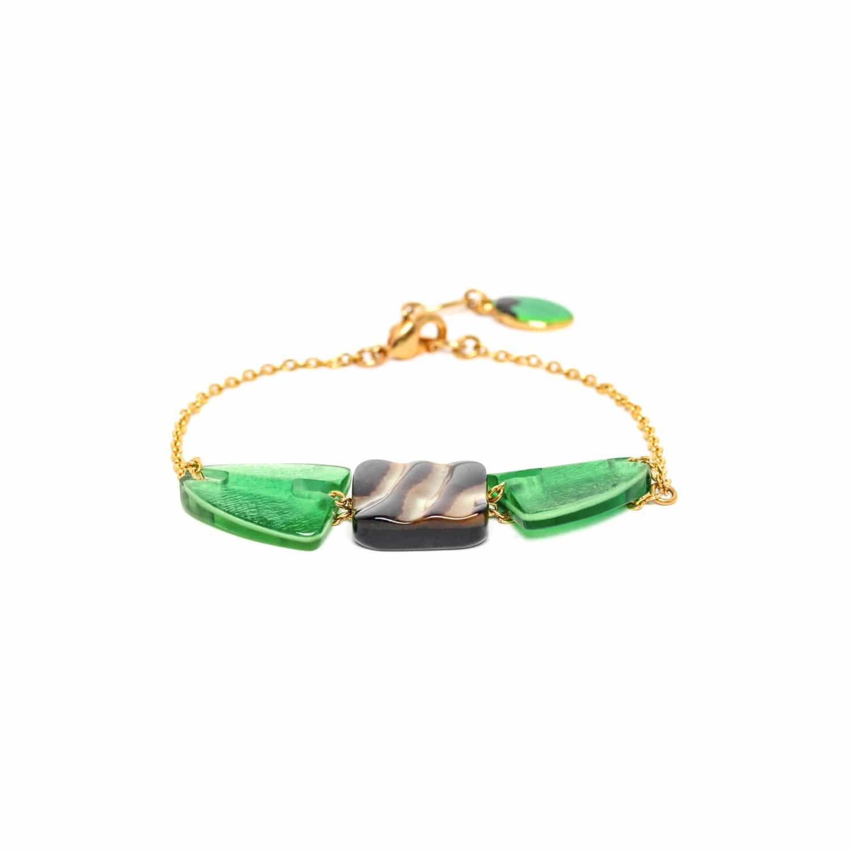PRECIOUS SAVANNA bracelet doré 3 éléments capiz et nacre brune