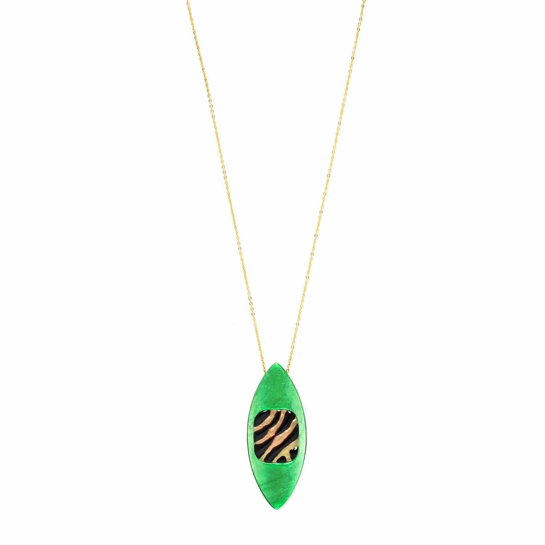PRECIOUS SAVANNA collier long doré pendentif capiz vert et nacre brune