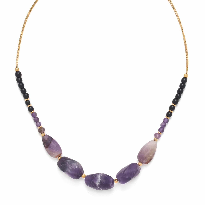 PURPLE RAIN collier 5 grosses perles