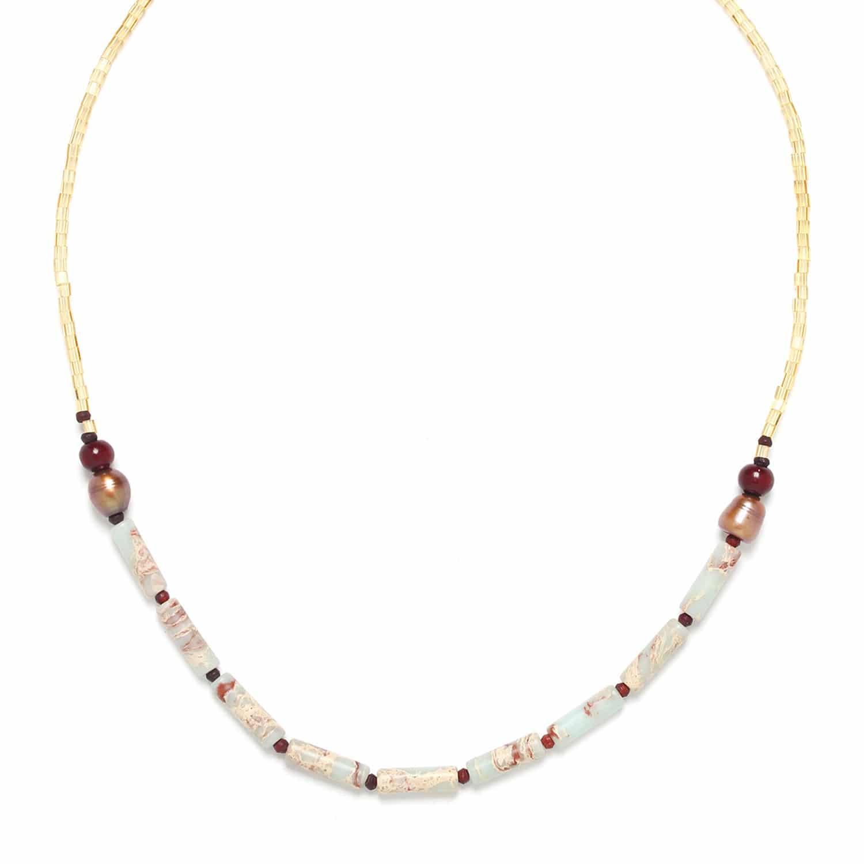 SWEET AMBER petit collier jaspe et perles de culture