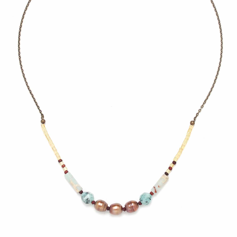 SWEET AMBER collier chaine perles de culture jaspe et zoisUte