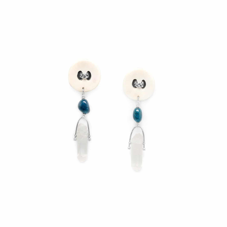 INUIT boucles d'oreilles clips cristal & bouton