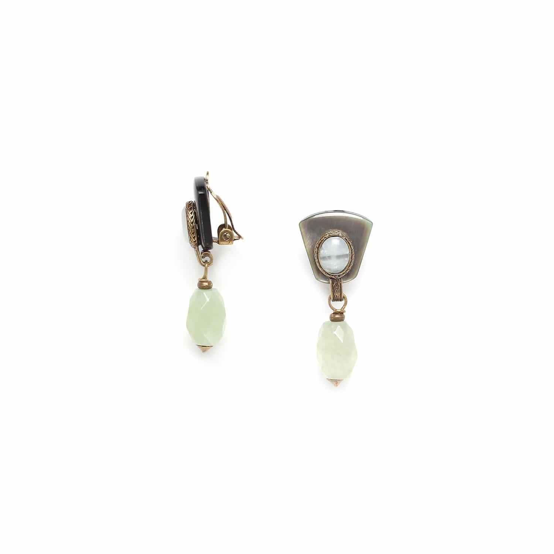PACHACUTI boucles d'oreilles clips jade olive